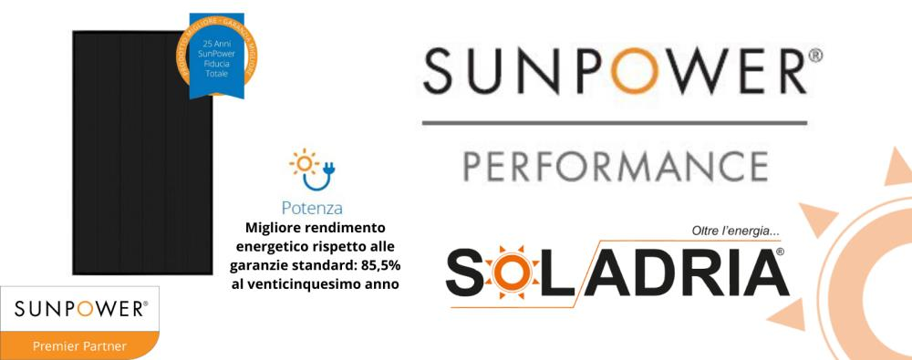 Da Soladria nuovi pannelli fotovoltaici Sunpower Performance